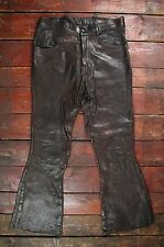 VTG 70s EAST WEST MUSICAL INSTRUMENTS FLARED LEATHER PANTS JEANS HIPPY W28 L27