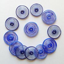 RachelArt - Blue Glass Disc Beads Lampwork Spiral Handmade - 12