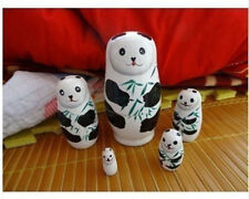Panda Bear 5 Piece Russian Wood Nesting Doll Matryoshka Stacking Dolls
