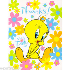 TWEETY BIRD THANK YOU NOTES (8) ~ Looney Tunes Birthday Party Supplies Cards