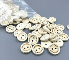 "50X Wooden Buttons ""Handmade"" Lettering 2 Holes Sewing Scrapbooking Craft 15mm"