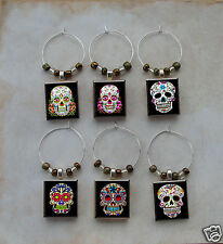 Sugar Skull Scrabble Wine Charms Beer Glass Dia de los Muertos Day of The Dead