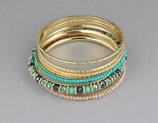 Turquoise gold bangle bracelet set 7 beaded set pack beaded