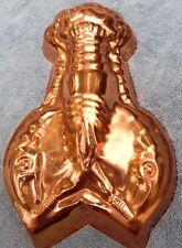 "copper lobster mold  tin-lined  hanger  12"" x 6"" x 2"""