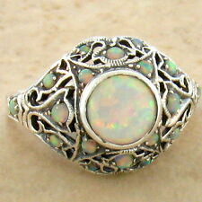 WHITE LAB OPAL .925 STERLING VINTAGE VICTORIAN DESIGN SILVER RING SIZE 10,  #760