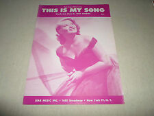 This is my Song Patti Page Dick Charles Piano Solo Music Score Sheet Song Voice