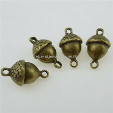 12834 15PCS Squirrel Favorite Food Acorn Nut Charm Connector Vintage Bronze Tone