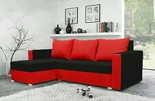 corner sofa bed black red fabric sleeping option living room storage