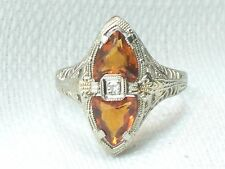 Estate Antique14K White Gold Fire Opal & Diamond Filigree Ring