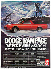 1983 DODGE RAMPAGE advertisement, Dodge Rampage pickup car truck