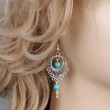 Bohemian Style Pierced Turquoise Water Drop Dangle Earrings Ethnic Tribal