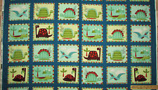"Dino-Riffic Teal Blue Dinosaur Blocks Fabric Panel 23"" Repeat    #3407"