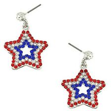 PATRIOTIC 4TH OF JULY RED WHITE & BLUE STAR RHINESTONE DANGLE PIERCED EARRINGS