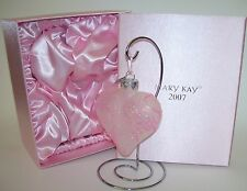 2007 Mary Kay Glass Heart Shaped Valentines Day Christmas Ornament Pink Glitter