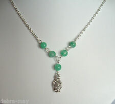 Buddha Head in Hand Pendant Jade Green Beaded Chain Necklace - Meditation Yoga