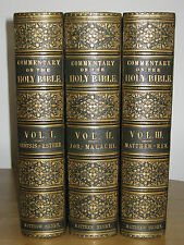 1854  MATTHEW HENRY COMMENTARY  3 LARGE VOLUMES SET  VERY FINEST BINDINGS  !!!!