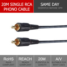 20m cable compuesto macho M/M Phono RCA VIDEO AV digital audio CCTV Micrófono De Plomo Plug