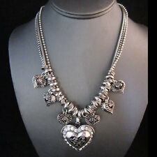 NEW - Signature Silver Brighton Bay Heart Charm Statement Multi Chain Necklace