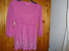 Dusky pink scoop neck autumn top with ties, 3/4 length sleeves, CHEROKEE,size 14