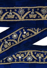 Vintage Indian Sari Border Used 1YD Hand Beaded Trim Sewing Blue Ribbon Lace