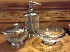 Paradigm crackle glass bathroom set lotion soap pump dish container New