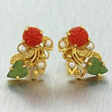 Vintage Estate 22k Solid Yellow Gold Coral Pearl Jade Floral Filigree Earrings