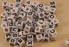 100pcs White/Black 6mm cube acrylic letter/alphabet beads