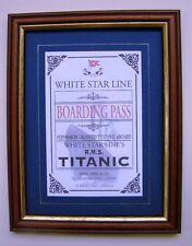 Raro Antiguo Repro Enmarcado Titanic pase de copia a venir a bordo del Titanic