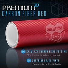 "3D Red Carbon Fiber Matte Vinyl Wrap Air Bubble Free - 60"" x 84"" In 5FT x 7FT"