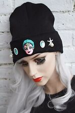 MERMAID BLACK BEANIE HAT STREET WEAR PASTEL GOTH CYBER KAWAII INDIE BEANIE