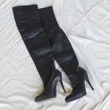 Pre owned Dolce and Gabbana black leather over the knee  boots w stiletto heel