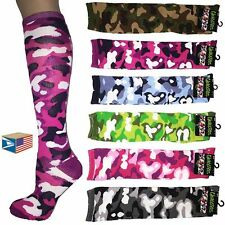 6 PAIR LOT KNEE HIGH SOCKS Asst Camo Camouflage SCHOOL GIRL NEW WHOLESALE #E3559