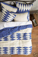 ANTHROPOLOGIE Dotted Ikat Quilt/blue/ivory/Beautiful/NEW in bag/Twin