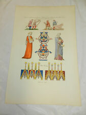 1806 Antique COLOR Print/COSTUMES (CLOTHING) OF THE 12TH & 13TH CENTURIES