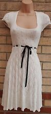 OASIS WHITE CUT KNIT JUMPER BELTED FLIPPY SKATER A LINE TEA VTG GYPSY DRESS 8 S