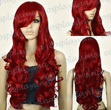 33 inch Hi_Temp Series Dark Red Curly wavy Long Cosplay DNA Wigs 967DDR