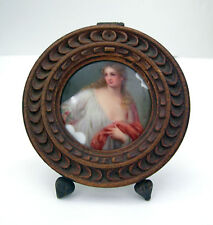 Firenze Porcelain Miniature Oil Painting Style Placque-Signed-Late 19/early 20th