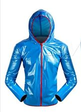 Shiny wet look glanz pvc  nylon Hoodie  sport mens xL   jacket  blue
