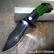 """8.25"""" TACTICAL US ARMY Spring Assisted Opening Pocket LED Knife Bowie Blade NEW!"""