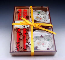 Gift Set Chinese Dining Ware Chopsticks & Holders & Saucers BRAND NEW #01071603