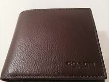 NWT COACH MENS F74991 COMPACT ID SPORT CALF LEATHER MAHOGANY/Brown WALLET $175