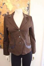 NWT Lafei-Nier Gorgeous Brown Stretch Denim Jacket with Sparkly Sequin Accents S