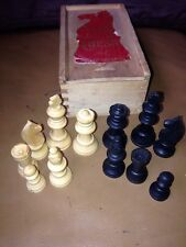 Vintage Staunton Boxwood Chess Set In Wooden Box House Martin Brand Medium