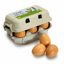 Wooden pretend role play food Erzi play kitchen, shop: Eggs Brown six pack toy