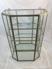 """Vintage Brass Glass WALL CURIO CABINET Etched Flowers 3 Tier 12"""" X 7.75"""" X 3.5"""""""