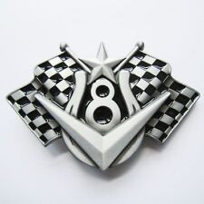 BRAND NEW V8 HORSE SHOE CHECKER FLAG RACING BELT BUCKLE