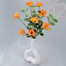 Orange Poppy Artificial Flower Arrangement With White Vase (50cm) Home Decotatio