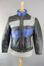AMAZING BLACK, BLUE & GREY KETT COWHIDE LEATHER BIKER JACKET 36 INCH