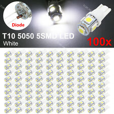 100 X T10 W5W 5050 5-SMD 6000K White Car Wedge Tail LED Light bulbs 194 168
