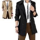 Men's Winter Slim Double Breasted Trench Coat Long Jacket Overcoat Outwear Z